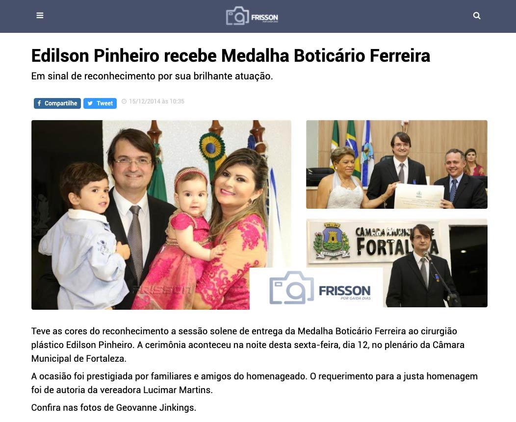 Dr. Edilson recebe Medalha Boticário Ferreira, maior comenda da Câmara de Vereadores de Fortaleza