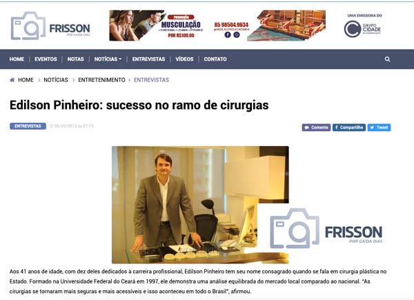 Edilson Pinheiro – Sucesso no ramo de cirurgia plástica – Coluna Frisson